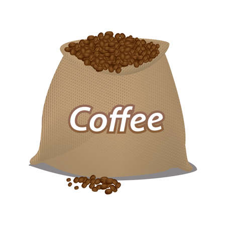 coffee sack: coffee beans in a sack Illustration