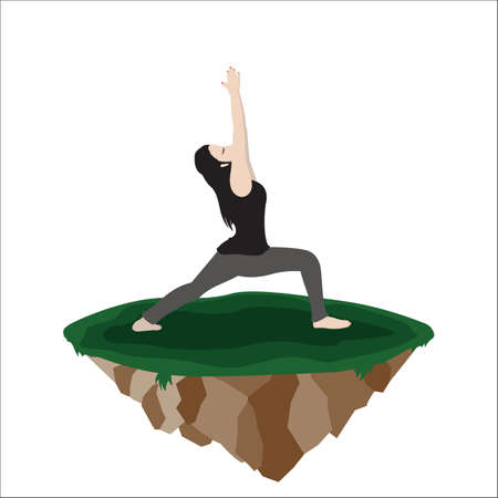 warrior pose: woman practicing yoga in warrior 1 pose Illustration