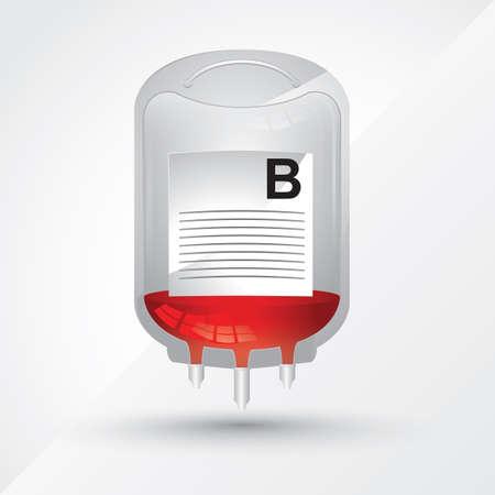 blood bag: b group blood bag Illustration