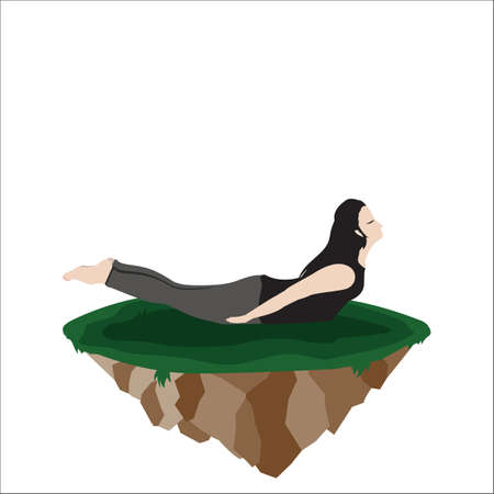 bend: woman practicing yoga in back bend bow pose Illustration