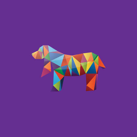 faceted: colorful faceted dog Illustration