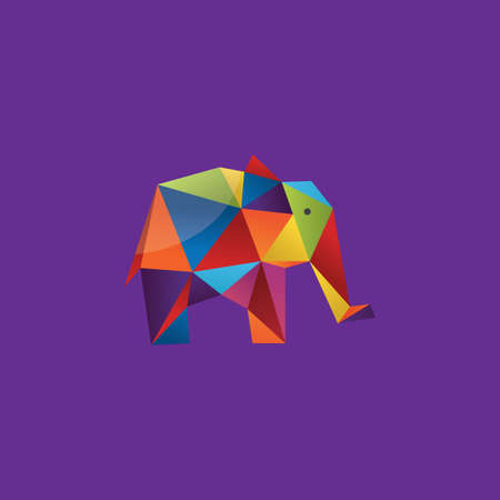 faceted: colorful faceted elephant