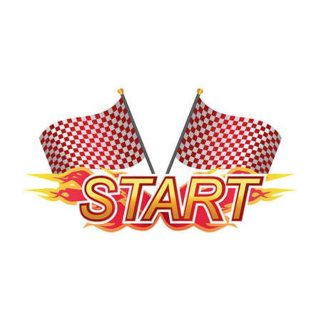 checker flag: start race sign Illustration
