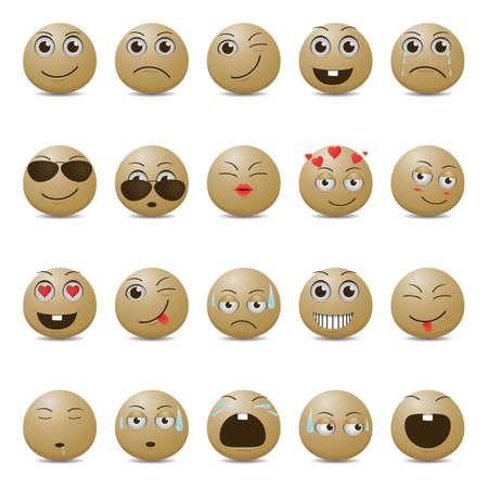 Smiley-Emoticons in verschiedenen Ausdrucksformen