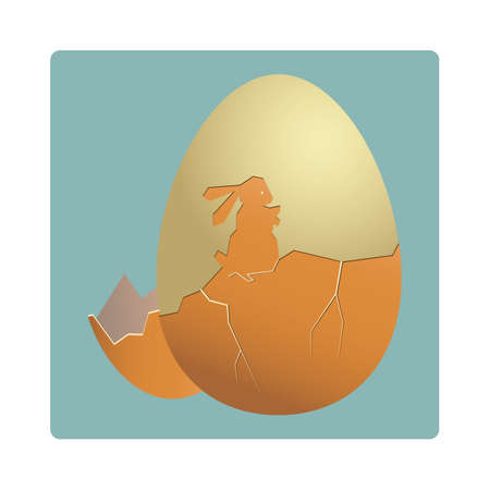 an egg shell: egg shell cracked in the shape of a rabbit
