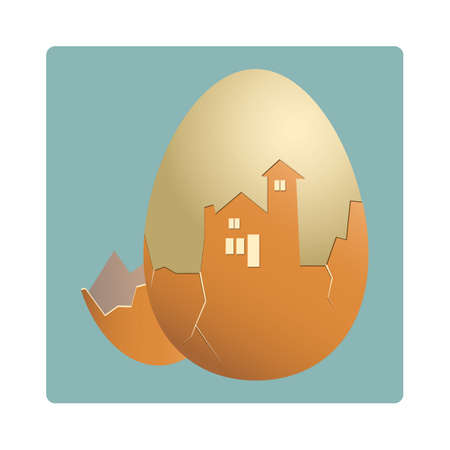 boiled eggs: egg shell cracked in the shape of a house