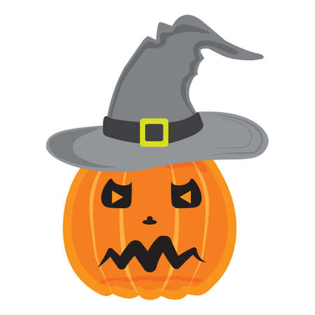 halloween pumpkin wearing witch hat