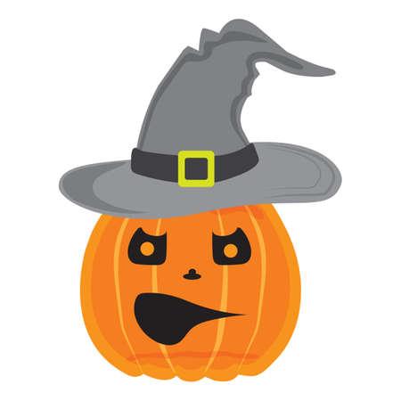 halloween pumpkin wearing witch hat Standard-Bild - 106670001