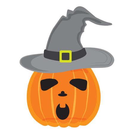 halloween pumpkin wearing witch hat