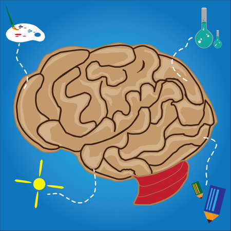 analytical: functions of brain concept Illustration