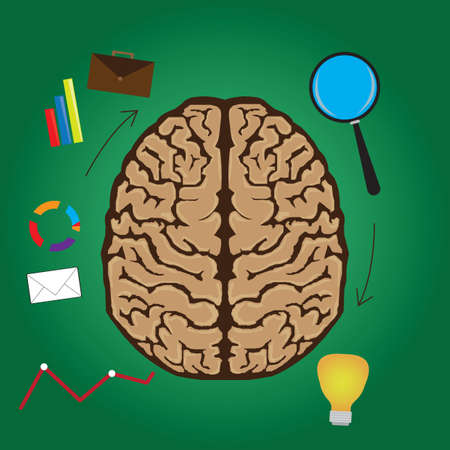 functions: functions of brain concept Illustration
