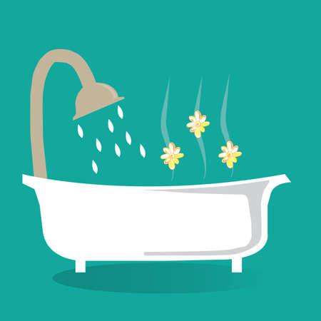 bath treatment: bath tub with shower Illustration