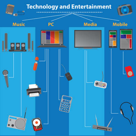 entertainment: technology and entertainment infographic Illustration