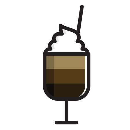 whipped cream: iced coffee with whipped cream Illustration