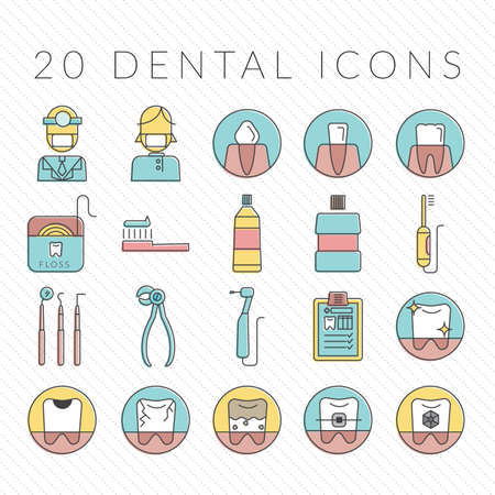 incisor: set of dental icons Illustration