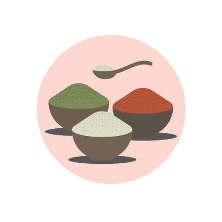 mixtures: spa herbal powder in bowls