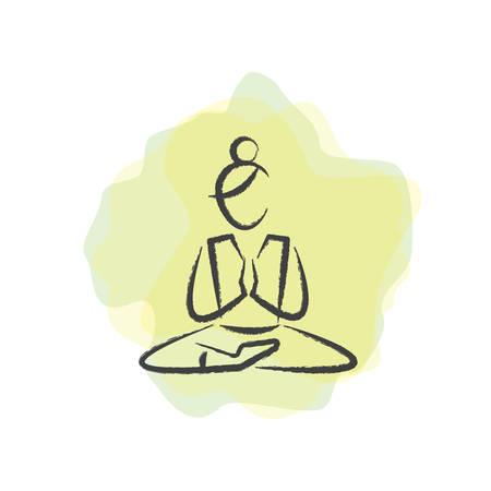 lotus pose: woman practising yoga in lotus pose