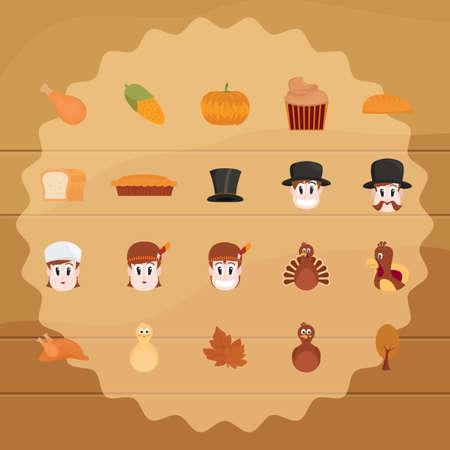 drumstick tree: set of thanksgiving icons Illustration