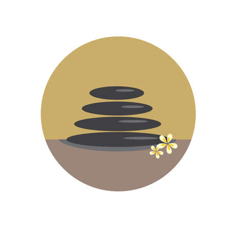 stones with flower: spa stones with flowers Illustration