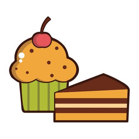 cake slice: cake slice and cupcake