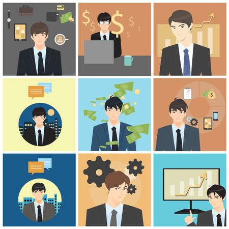 coffee sack: set of businessman characters Illustration