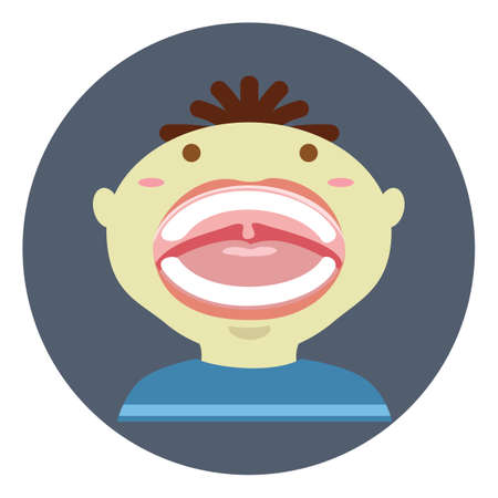 mouth open: boy with mouth open Illustration