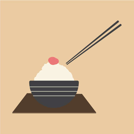 cereal bowl: bowl of rice Illustration