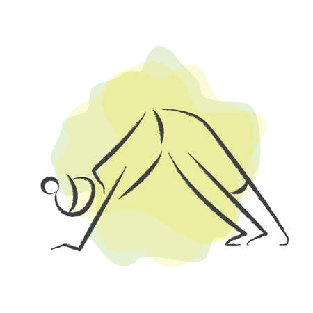 downward: woman practising yoga in downward dog pose Illustration