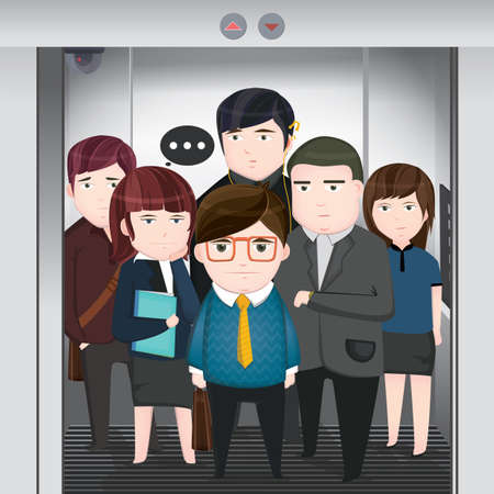 an elevator: office people in elevator Illustration