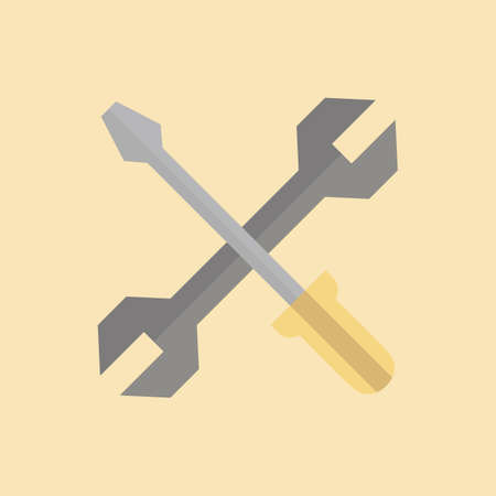 spanner: screwdriver and spanner Illustration