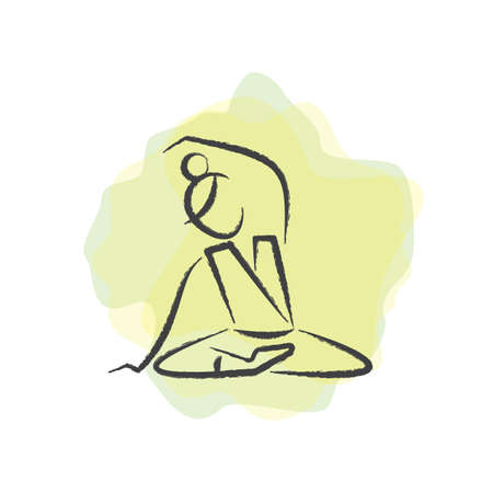 seated: woman practising yoga in seated pose Illustration