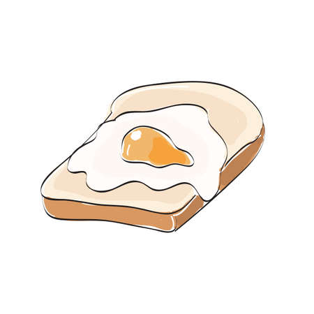 fried egg: bread and fried egg Illustration