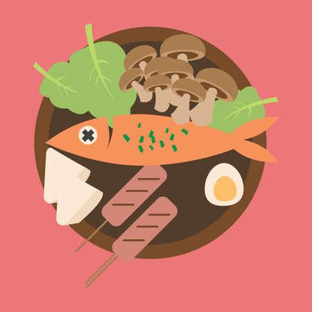 cuisine: japanese traditional cuisine Illustration