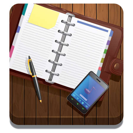 planner: planner with smartphone and pen Illustration