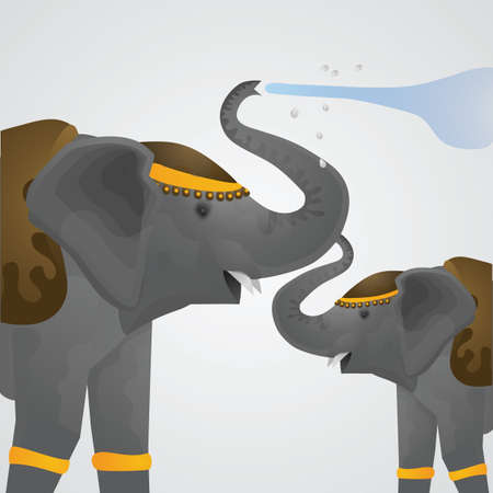 songkran: elephants playing in water in songkran