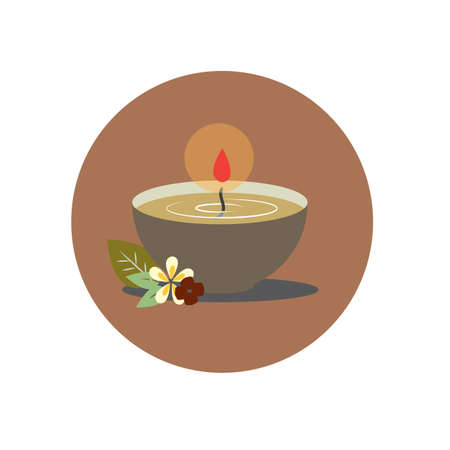 burning candle: burning candle in a bowl