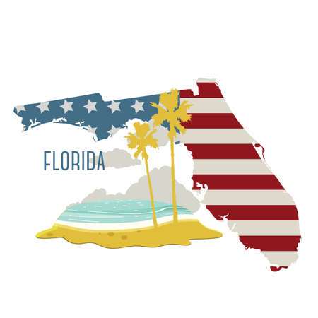 florida state: florida state map with beach Illustration