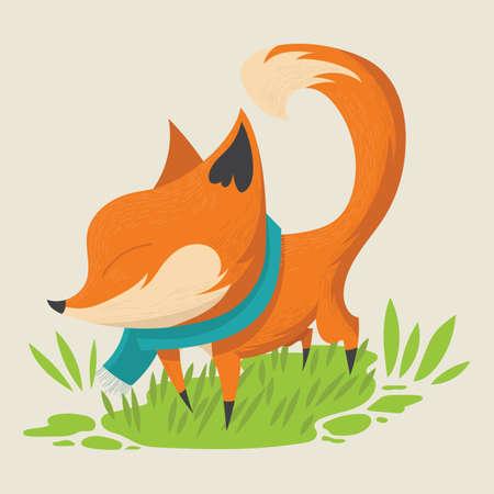 muffler: fox with muffler Illustration