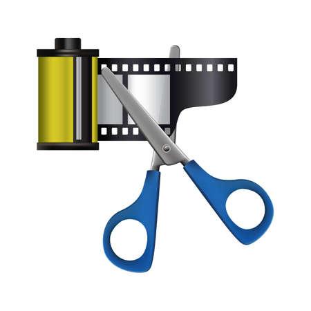 scissors cutting: scissors cutting a camera roll