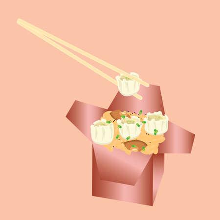 takeaway: dumplings with rice in takeaway box Illustration
