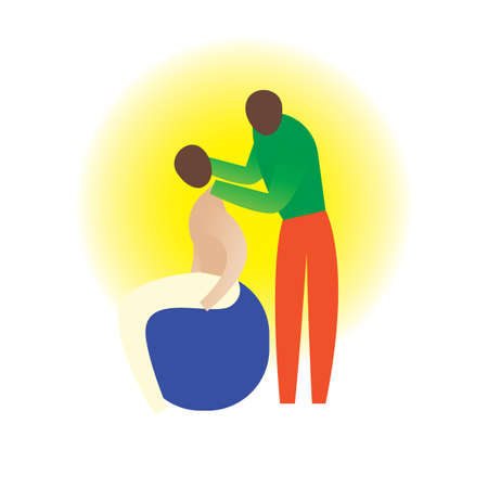 head massage: therapist giving a neck massage