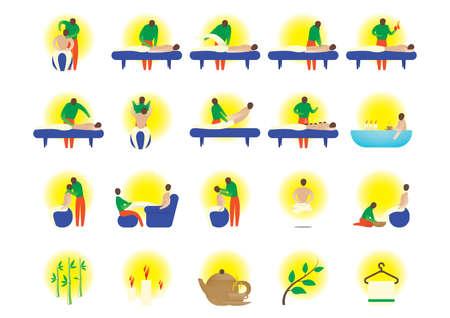 hot stones: set of massage icons Illustration