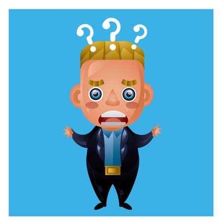 confused businessman: confused businessman with question marks