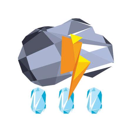 raining: raining cloud with thunder