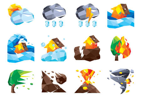 earthquakes: set of nature icons Illustration