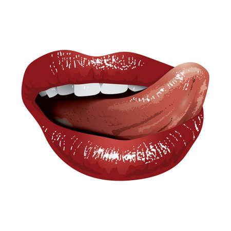 licking: tongue licking lips