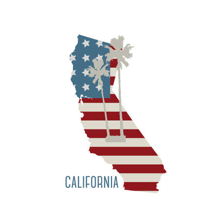 california state: california state map with palm trees Illustration