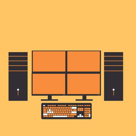 quad: quad monitor computer set