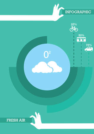 oxygen transport: vehicle pollution infographic Illustration