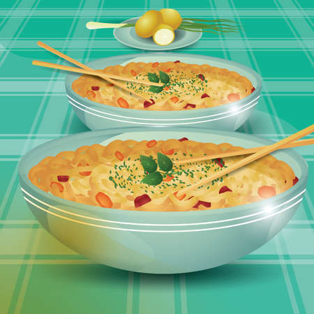 noodles: bowls of noodles